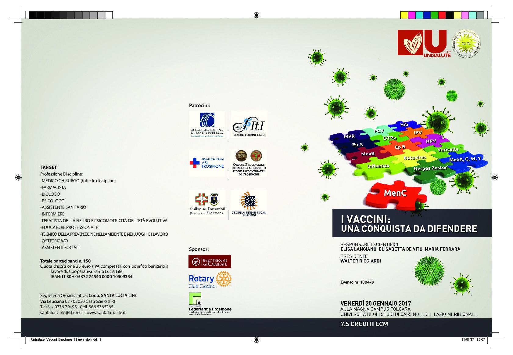 Unicas-  Presidente dell'Istituto Superiore di Sanità all'Università di Cassino per parlare di vaccinazioni