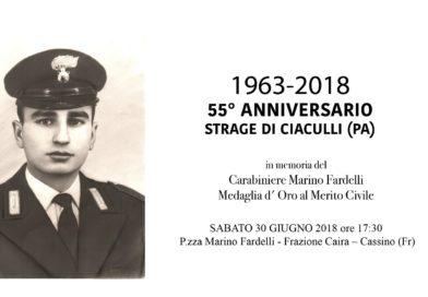 Cassino –  Strage di Ciaculli: sabato 30 giugno sarà ricordato il carabiniere Marino Fardelli